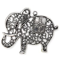 Elephant Pendant 44x55mm Pewter Antique Silver Plated (1-Pc)
