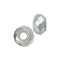 Faceted Large Hole Glass Bead with Grommet 14x8mm Silver (1-Pc)
