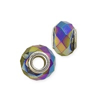 Faceted Large Hole Glass Bead with Grommet 14x8mm Gold AB (1-Pc)