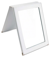 Faux Leather Folding Mirror - White