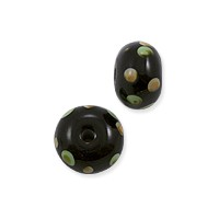 Lampwork Rondelle Glass Bead 7x12mm Black with Tan/Green Dots (1-Pc)