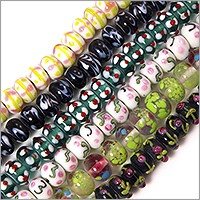 Colorful Lampwork Rondelle Beads 13x8mm (Bulk Pack of 6 Strands)