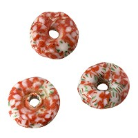 Ghana Glass Rondelle Bead 14mm Red/Green/White (5-Pcs)