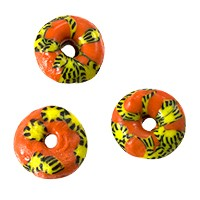 Ghana Glass Rondelle Bead 14mm Orange/Yellow/Black (5-Pcs)