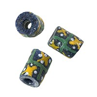 Ghana Hand-Painted Sandcast Tube Bead 12x9mm Blue/Yellow/Green (2-Pcs)