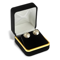 Stud Earring Box Black Velvet with Gold Trim
