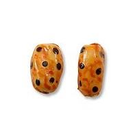 Hand Painted Glass Flat Oval Leopard Bead 9x14mm (2-Pcs)
