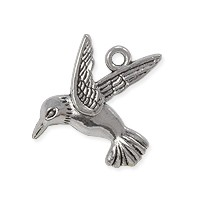 Charm - Hummingbird 20x18mm Pewter Antique Silver Plated (1-Pc)