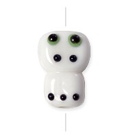Lampwork Glass Scary Creature Bead 12x18mm White/Black/Green (1-Pc)