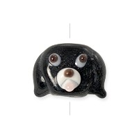 Lampwork Glass Dog Face Bead 16x12mm Black (1-Pc)