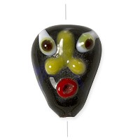 Lampwork Glass Goblin Face Bead 13x17mm Black/Orange/White/Yellow (1-Pc)