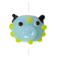 Lampwork Glass Monster Face Bead 14x12mm Blue/Yellow (1-Pc)