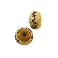 Lampwork Rondelle Glass Bead 7x12mm Tan with Red Dots (1-Pc)