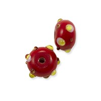 Lampwork Rondelle Glass Bead 7x12mm Red with White and Yellow Dots (1-Pc)