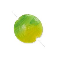 Puffy Round Bead 18mm Green and Gold (1-Pc)