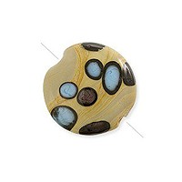 Puffy Round Bead 18mm Tan, Brown and Blue (1-Pc)