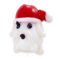 Puppy with Santa Hat Lampwork Bead 20x13mm (1-Pc)