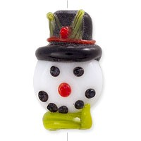 Snowman Face Lampwork Bead 22x14mm (1-Pc)
