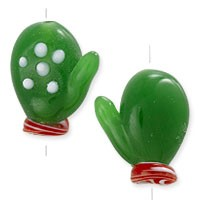 Green Mitten Lampwork Bead 20x15mm (1-Pc)