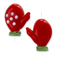 Red Mitten Lampwork Bead 20x15mm (1-Pc)