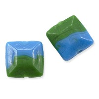 Lampwork Glass Square Bead 16mm Blue and Green (1-Pc)