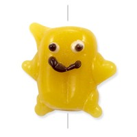 Lampwork Glass Smiley Bead 12x15mm Yellow Ochre (1-Pc)