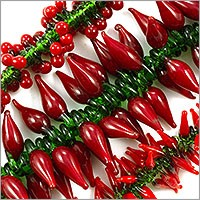 Large Red Garden Mix Lampwork Beads 12-30mm (Bulk Pack of 3 Strands)
