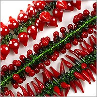 Small Red Garden Mix Lampwork Beads 14-19mm (Bulk Pack of 3 Strands)