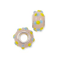 Large Hole Lampwork Glass Bead with Grommet 8x14mm Pink with Yellow and Turquoise Dots (1-Pc)