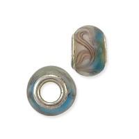 Large Hole Lampwork Glass Bead with Grommet 8x14mm Pink and Aqua (1-Pc)