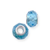 Faceted Large Hole Glass Bead with Grommet 14x8mm Aqua (1-Pc)