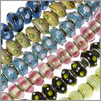 6 Strand Mix of Large Hole Lampwork Glass Beads with Grommets (120-Pcs)