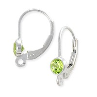 Lever Back Earring with 4mm Peridot Sterling Silver (1-Pc)