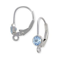 Lever Back Earring with 4mm Sky Blue Topaz Sterling Silver (1-Pc)