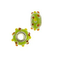 14mm Opaque Lime Orange Yellow Dots Large Hole Lampwork Glass Bead with Grommet (1-Pc)
