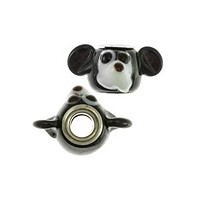 14mm Opaque Black White Mouse Large Hole Lampwork Glass Bead with Grommet (1-Pc)