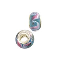 Large Hole Lampwork Glass Bead with Grommet 8x14mm Aqua with Pink/White Swirls (1-Pc)