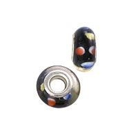 Large Hole Lampwork Glass Bead with Grommet 8x14mm Black/Red/White/Blue (1-Pc)