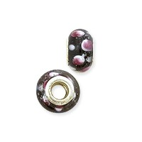 Large Hole Lampwork Glass Bead with Grommet 8x14mm Black with Pink and White Dots (1-Pc)