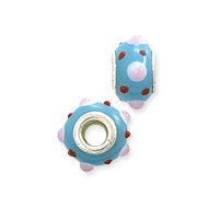 Large Hole Lampwork Glass Bead with Grommet 8x15mm Blue with Pink and Red Dots (1-Pc)