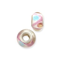 Large Hole Lampwork Glass Bead with Grommet 8x14mm Clear with Peach and Blue Dots (1-Pc)