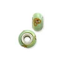 Large Hole Lampwork Glass Bead with Grommet 8x14mm Green Flower with Copper Stone (1-Pc)