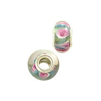 Large Hole Lampwork Glass Bead with Grommet 8x14mm Green/Pink/White (1-Pc)