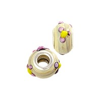Large Hole Lampwork Glass Bead with Grommet 8x14mm Lavender with Yellow Dots (1-Pc)
