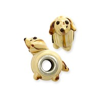 Large Hole Lampwork Glass Bead with Grommet 8x24mm Tan Puppy Dog (1-Pc)
