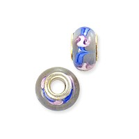 Large Hole Lampwork Glass Bead with Grommet 8x14mm White with Blue Swirls (1-Pc)