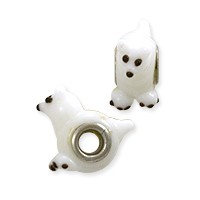 Large Hole Lampwork Glass Bead with Grommet 9.5x21mm White Kitty Cat (1-Pc)