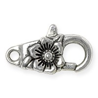 Lobster Claw Clasp - Flower 24x10mm Pewter Antique Silver Plated (1-Pc)