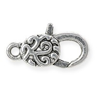 Lobster Claw Clasp - Flower Swirl 30x16mm Pewter Antique Silver Plated (1-Pc)
