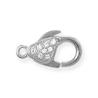 Lobster Claw Clasp with Crystals - 20x11.5mm Rhodium Plated (1-Pc)